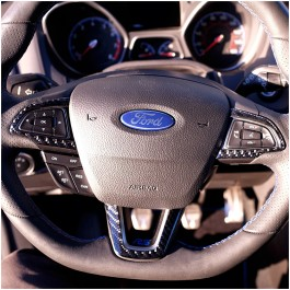 Tufskinz Peel & Stick Carbon Fiber Steering Wheel Trim for the Ford Focus RS / ST (Set of 3)